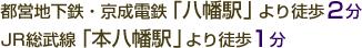 都営地下鉄・京成電鉄「八幡駅」より徒歩2分、JR総武線「本八幡駅」より徒歩1分